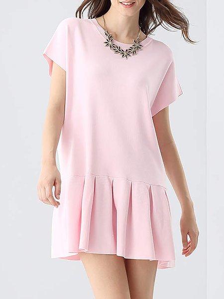 Pink Flounce Sweet Cotton-blend Crew Neck Mini Dress