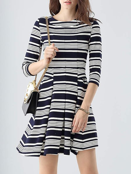 Navy Blue Stripes Simple Crew Neck Cotton Mini Dress