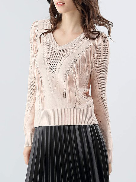 Apricot V Neck Long Sleeve Fringed Sweater