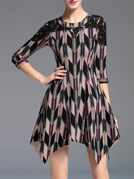 Multicolor Asymmetrical Printed Geometric Casual Mini Dress