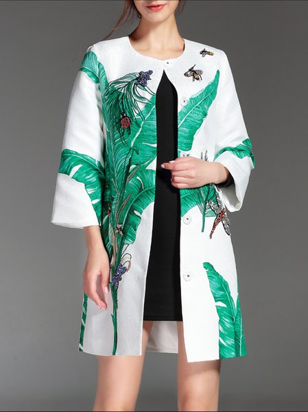 White H-line Graphic 3/4 Sleeve Coat