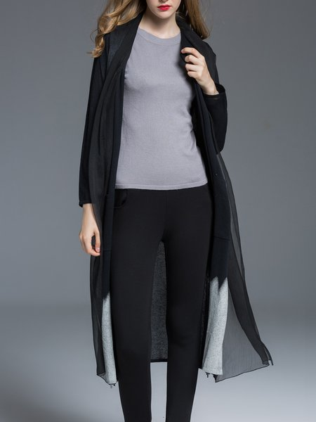 Black Casual Paneled Knitted Cardigan