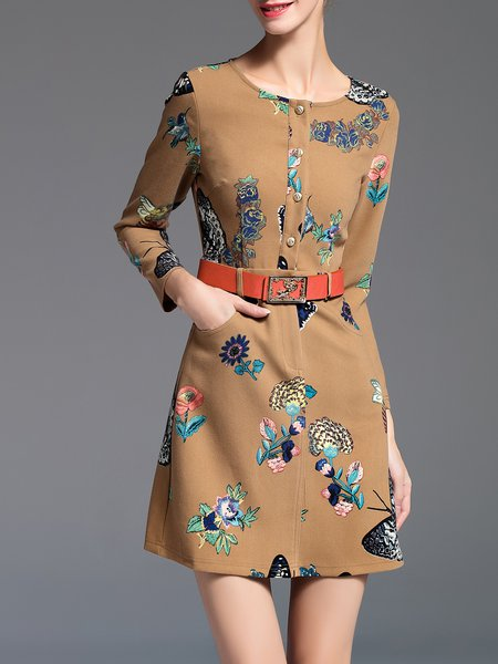 Long Sleeve Vintage Crew Neck Printed A-line Mini Dress with Belt