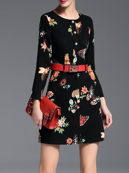 Black Crew Neck Vintage Floral Printed Mini Dress with Belt