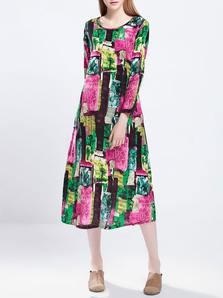 Multicolor Printed Long Sleeve Crew Neck Shift Midi Dress