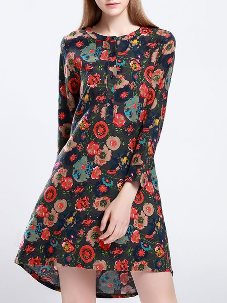 Deep Gray Long Sleeve Vintage Floral-print Mini Dress