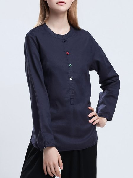 Navy Blue Stand Collar Simple Ramie Buttoned Blouse