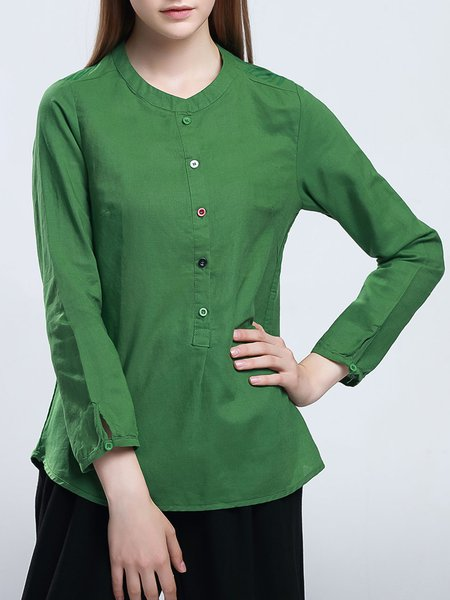 Green Solid Stand Collar Simple Buttoned Blouse