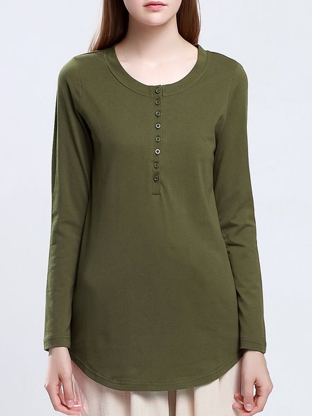 Army Green Cotton-blend Buttoned Solid Long Sleeved Top