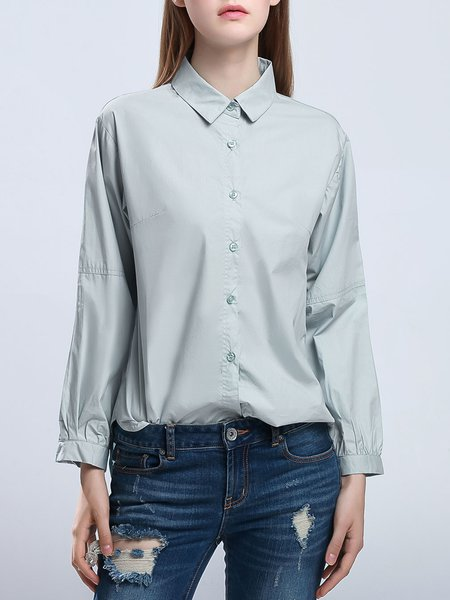 Gray Simple Cotton Shirt Collar Long Sleeve Blouse