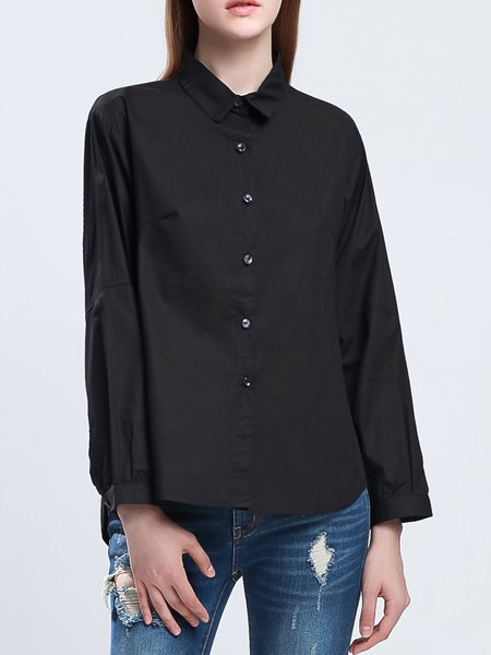 Black Shirt Collar Long Sleeve Solid Buttoned Blouse