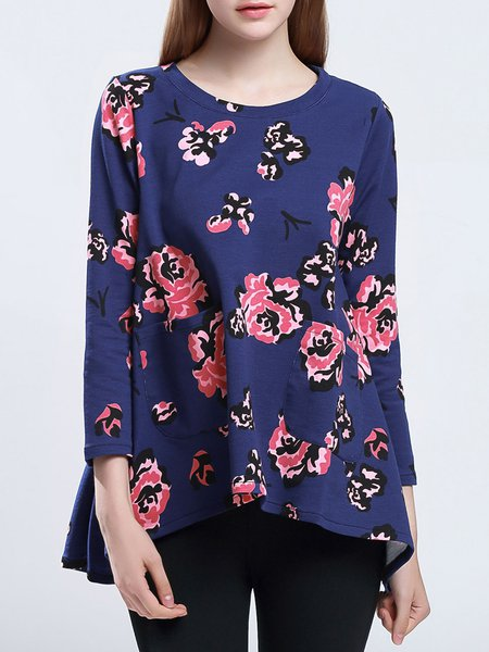Navy Blue A-line Floral Crew Neck Pockets Long Sleeved Top