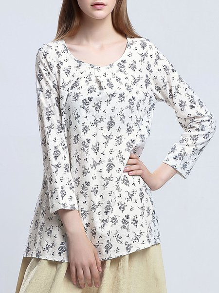 White Casual Cotton-blend Floral Long Sleeved Top