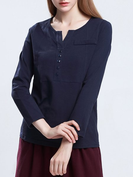 Navy Blue Solid Stand Collar Buttoned Long Sleeved Top
