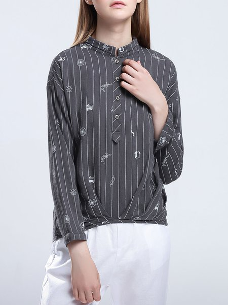 Deep Gray Long Sleeve Asymmetrical Printed Blouse