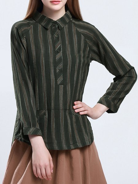 Army Green Stripes Long Sleeve Shirt Collar Blouse