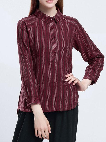 Red Cotton-blend Simple Stripes Shirt Collar Blouse