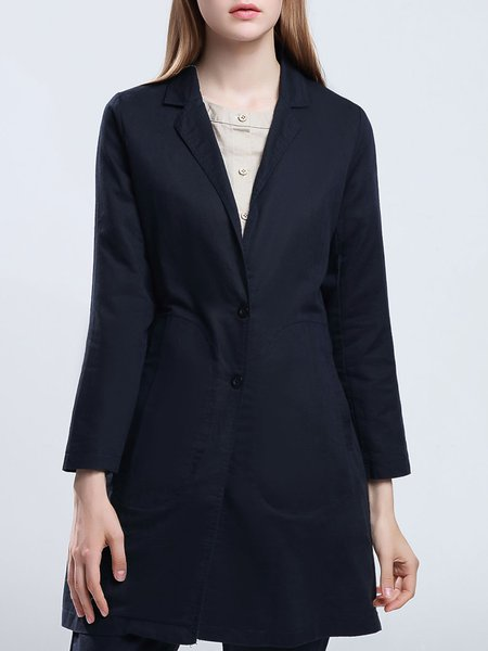 Navy Blue Lapel Long Sleeve Pockets Linen Coat