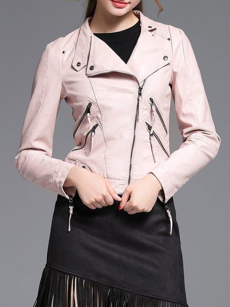 Pink Zipper Street PU Biker Jacket