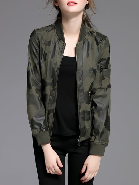 Army Green Long Sleeve PU Camouflage Leather Jacket
