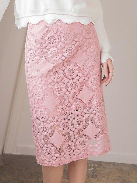 Pink Floral Elegant Lace Pierced Midi Skirt
