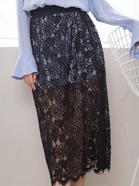 Black H-line Floral Pierced Sexy Midi Skirt