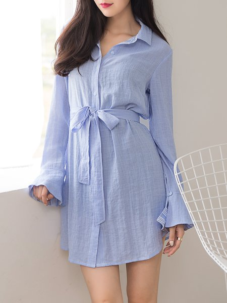 Light Blue Plain Flare Sleeve  Shirt Collar Mini Dress