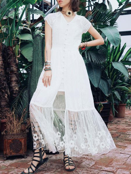 White Pleated Short Sleeve Maxi Dress