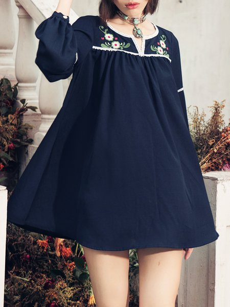 Navy Blue Floral-embroidered A-line Sweet Crew Neck Tunic