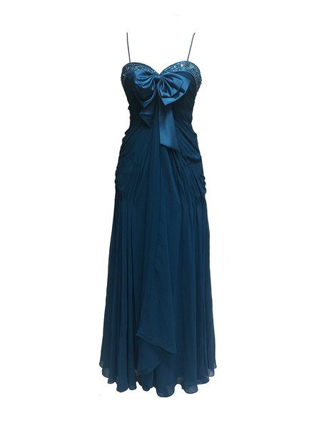 Dark Blue Beaded Sweetheart Pleated Spaghetti Evening Dress