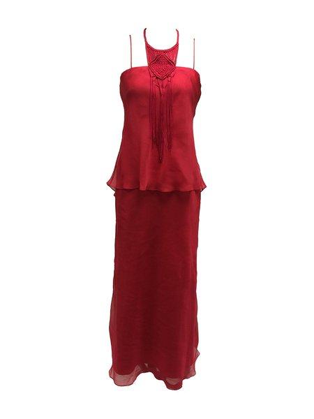 Red Vintage Weave Breezy Low-cut Chiffon Evening Dress