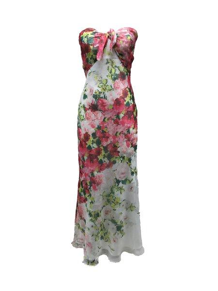 White Strapless Floral-print Sheath Evening Dress