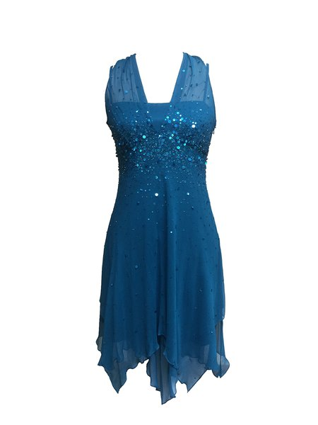 Blue Beaded Sequins Sleeveless Mini Dress