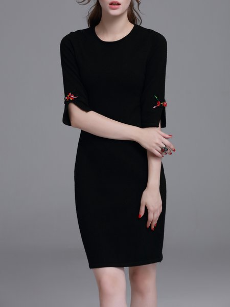 Black Plain Half Sleeve Slit Sheath Sweater Dress