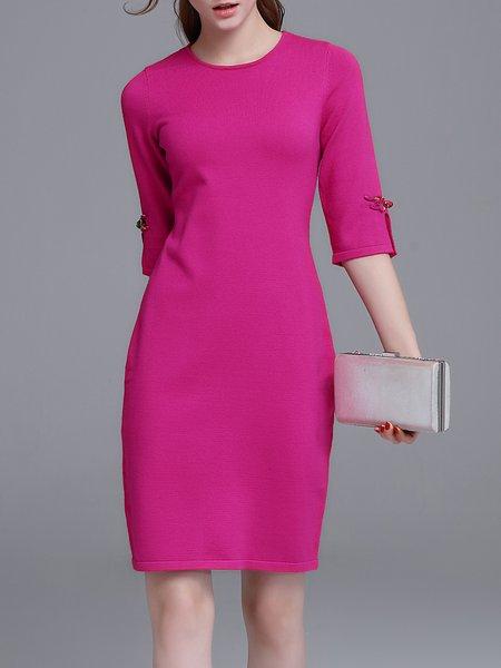 Fuchsia Slit Sheath Half Sleeve Sweater Dress