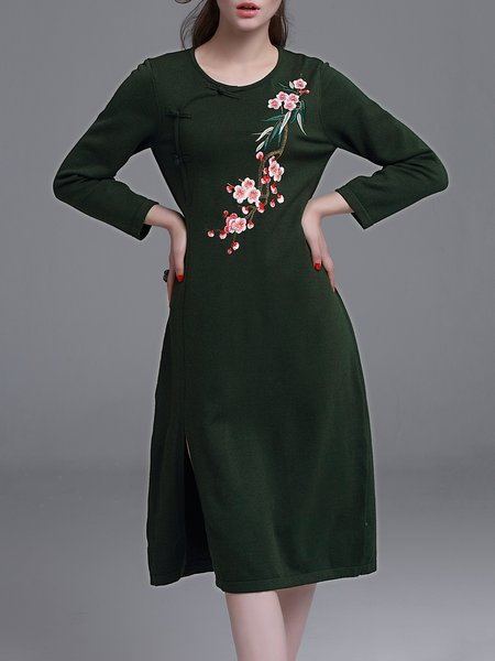 Dark Green Slit Long Sleeve Vintage Sweater Dress