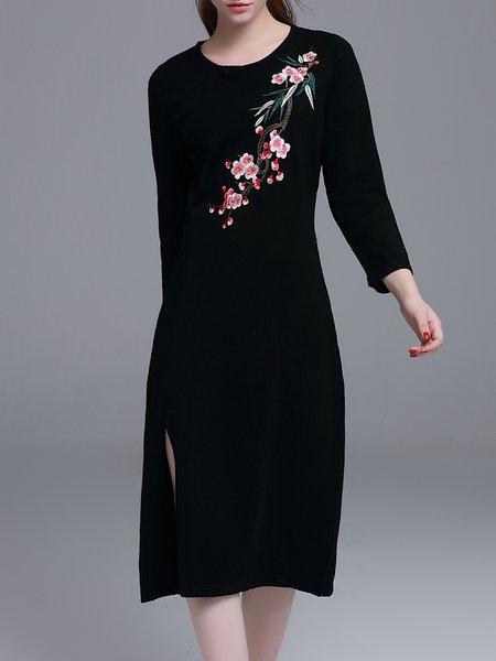 Black Slit A-line Vintage Crew Neck Sweater Dress