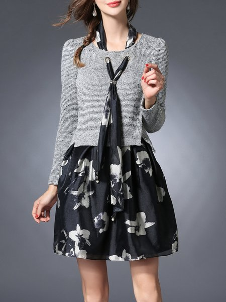 Gray Crew Neck Long Sleeve Paneled Mini Dress