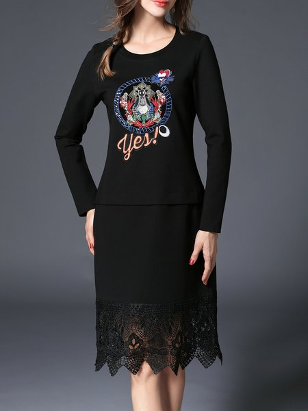 Embroidered Long Sleeve Shift Cotton-blend Casual Midi Dress
