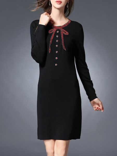 Black Solid Shift Long Sleeve Viscose Midi Dress