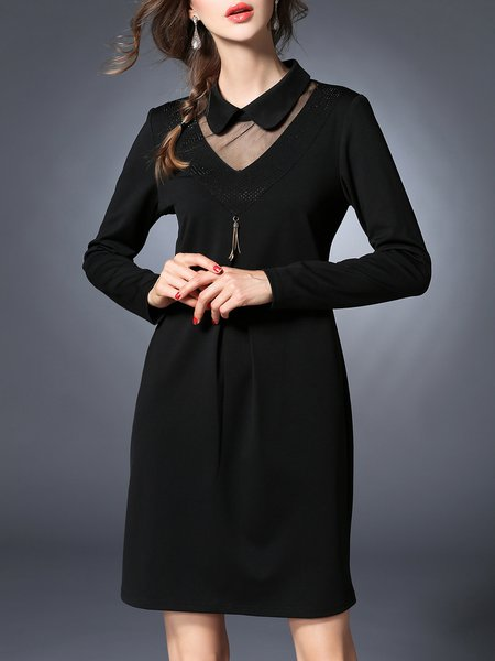 Black Simple Polyester Peter Pan Collar Shift Midi Dress