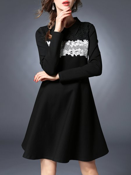 Black Girly Shirt Collar A-line Paneled Midi Dress