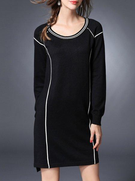 Casual Paneled Long Sleeve Viscose Midi Dress