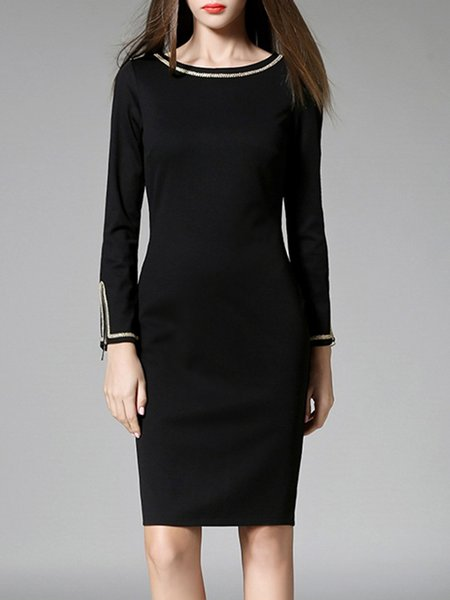 Black Long Sleeve Sheath Zipper Midi Dress
