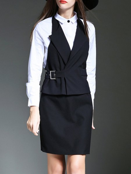 Black Shirt Collar Sheath Casual Paneled Midi Dress