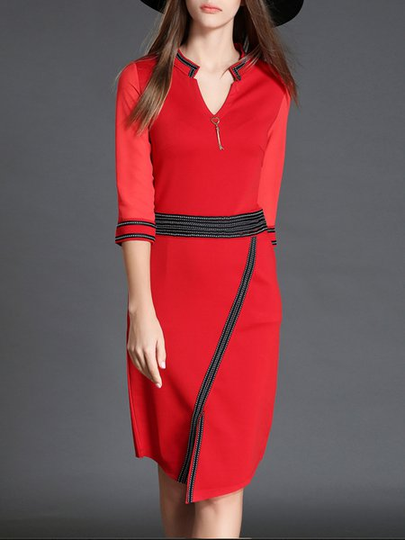 Red Sheath 3/4 Sleeve Midi Dress