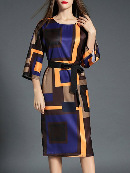 Multicolor Shift Geometric Printed Casual Midi Dress with Belt