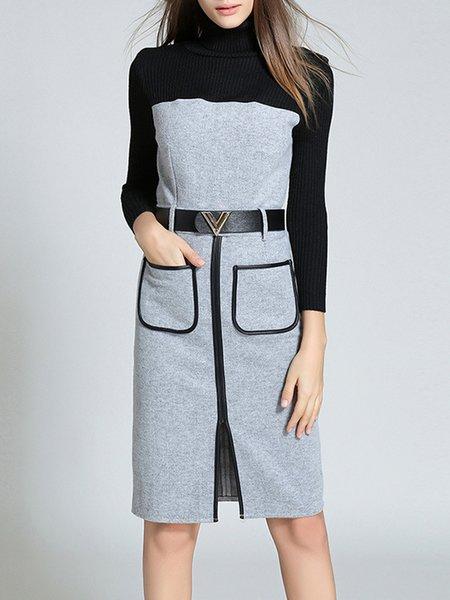 Light Gray Long Sleeve Pockets Sheath Midi Dress with Belt