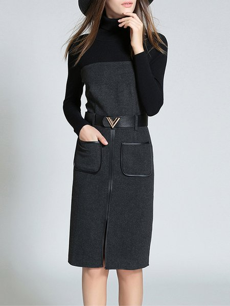Black Elegant Cotton-blend Turtleneck Midi Dress with Belt