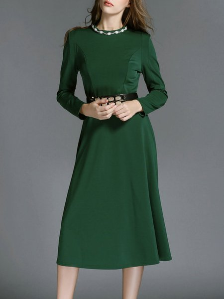 Black Solid Stand Collar A-line Elegant Midi Dress